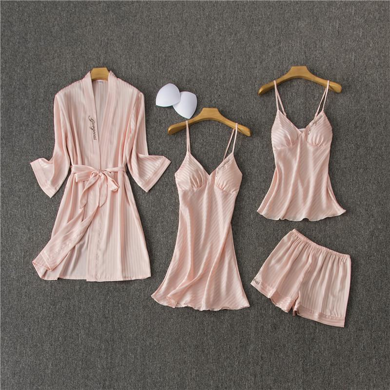 Set 4 Pieces Women's Lace Trim V Neck Chemise Sleeveless Nighties/Free Shipping