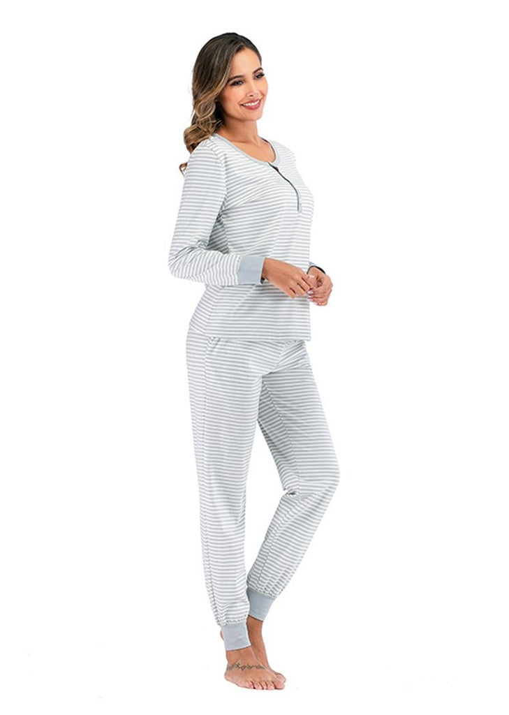 Pajamas Set Long Sleeve Sleepwear Stripe Printed Nightwear with Pocket/Free Shipping