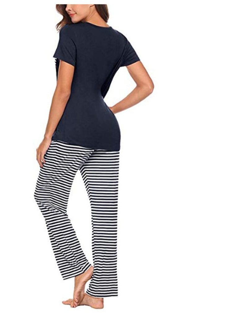 Women's Striped Spliced Sleepwear Short sleeve Pajama Sets With Pocket/Free Shipping