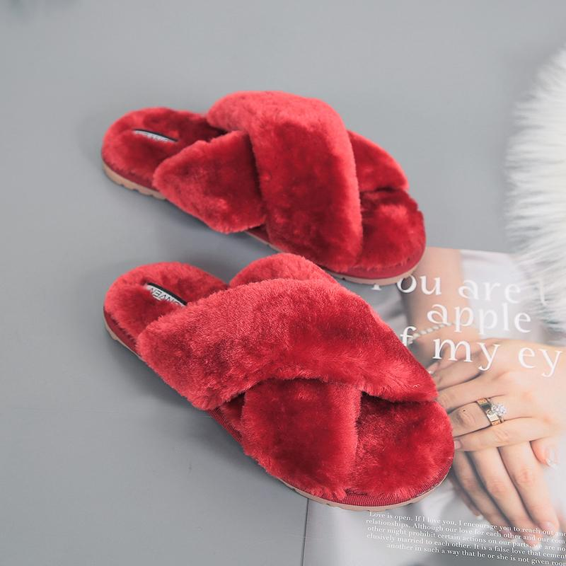 Women's Fashion Cross Band Soft Faux Fur House Indoor or Outdoor Slippers/Free Shipping
