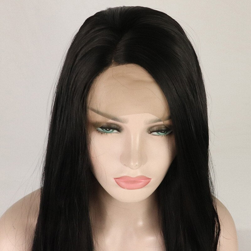 Fantasy Beauty Long Black Wig Natural Wave Synthetic Lace Front Wigs Glueless Heat Resistant Hair Lace Wigs for Black Women