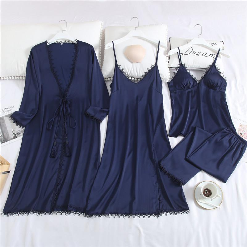 Lace Trim Long Sleeve Solid Color With Tassels Sleepwear Set 4 For Women/Free Shipping