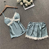 Flower Lace Trim Satin Halter  Pajamas Set/Free Shipping