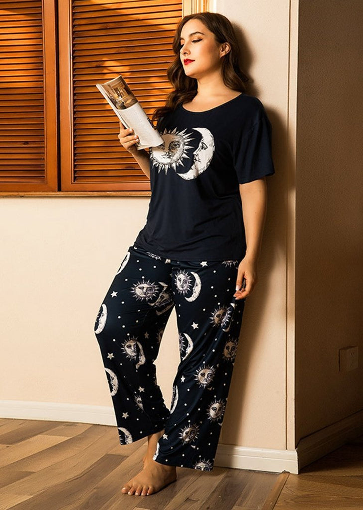 Plus Size Printed Short Sleeve Color Block 2 Pieces Sleepwear Pajama For Women/Free Shipping