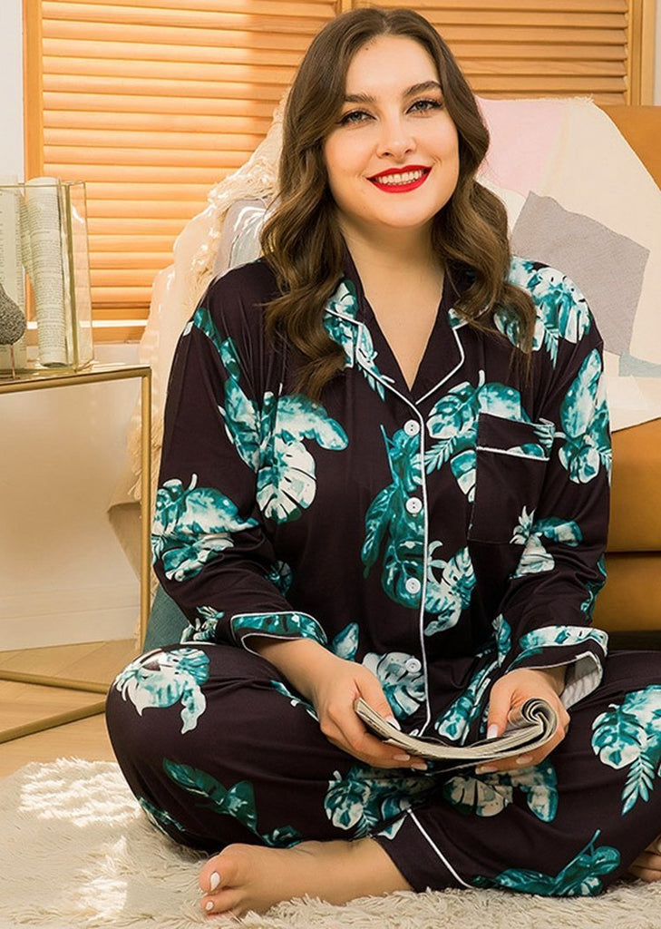 Women's Plus Size Printed Long Sleeve Button 2 Pieces Sleepwear Pajama With Pocket/Free Shipping