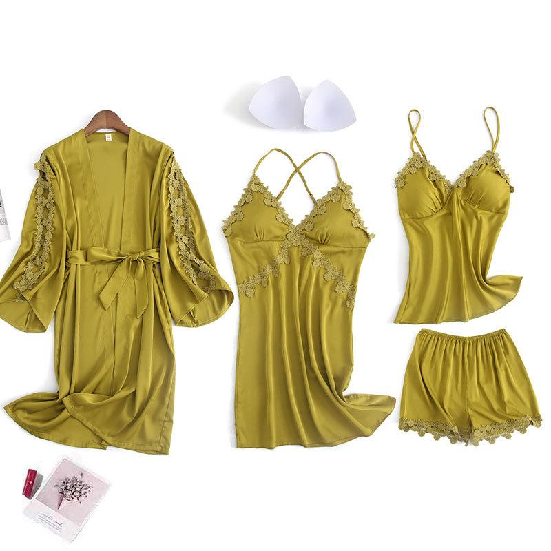 Women's Long Sleeve Solid Color Lace Trim Sleepwear Set 4/Free Shipping