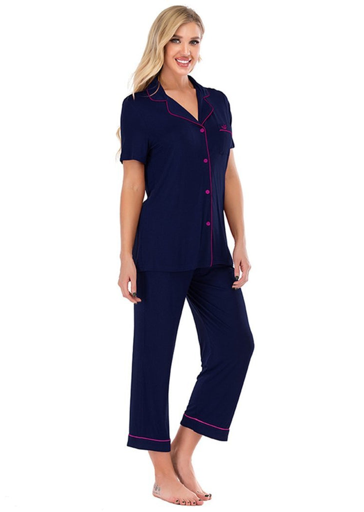 Pajamas Set Short Sleeve Sleepwear Women?¡¥s Button Down Nightwear/Free Shipping