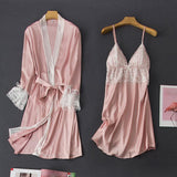 Lace Trim Nightdress & Long Sleeve Robe 2 Pieces Sleepwear Set/Free Shipping