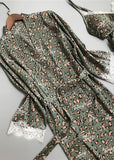 Green Leopard Printed Satin Pajamas Lace Trim 2 Pieces Sleepwear Sets For Women/Free Shipping