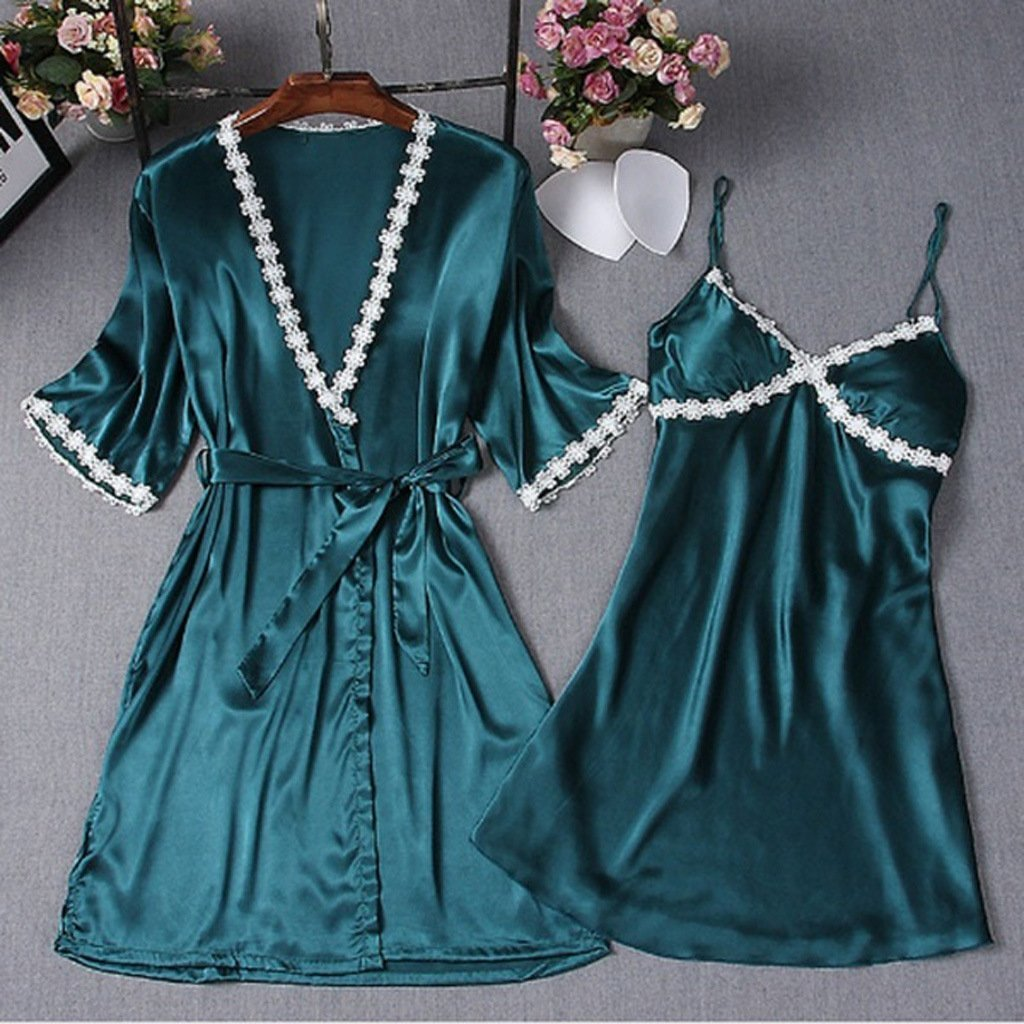 Satin Lace Trim Short Sleeve Robe & Nightdress Lingerie Sleepwear 2 Pieces Set/Free Shipping