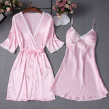 Lace Trim Satin Short Sleeve Robe & Nightdress Lingerie Sleepwear 2 Pieces Set/Free Shipping