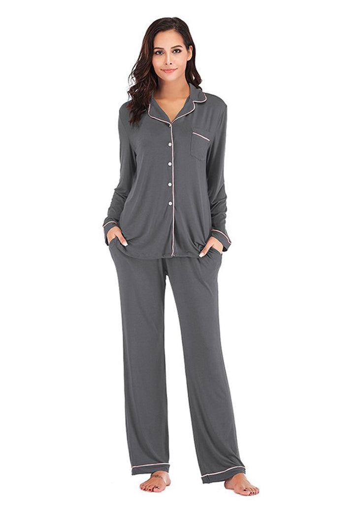 Long Sleeve Pajamas Set Womens Button Down Nightwear with Pocket/Free Shipping