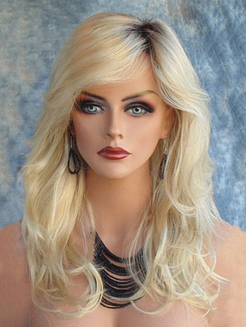 Ladystar Lace Front Wigs Long Colormix Inclined Bang Slightly Curly Synthetic Wig