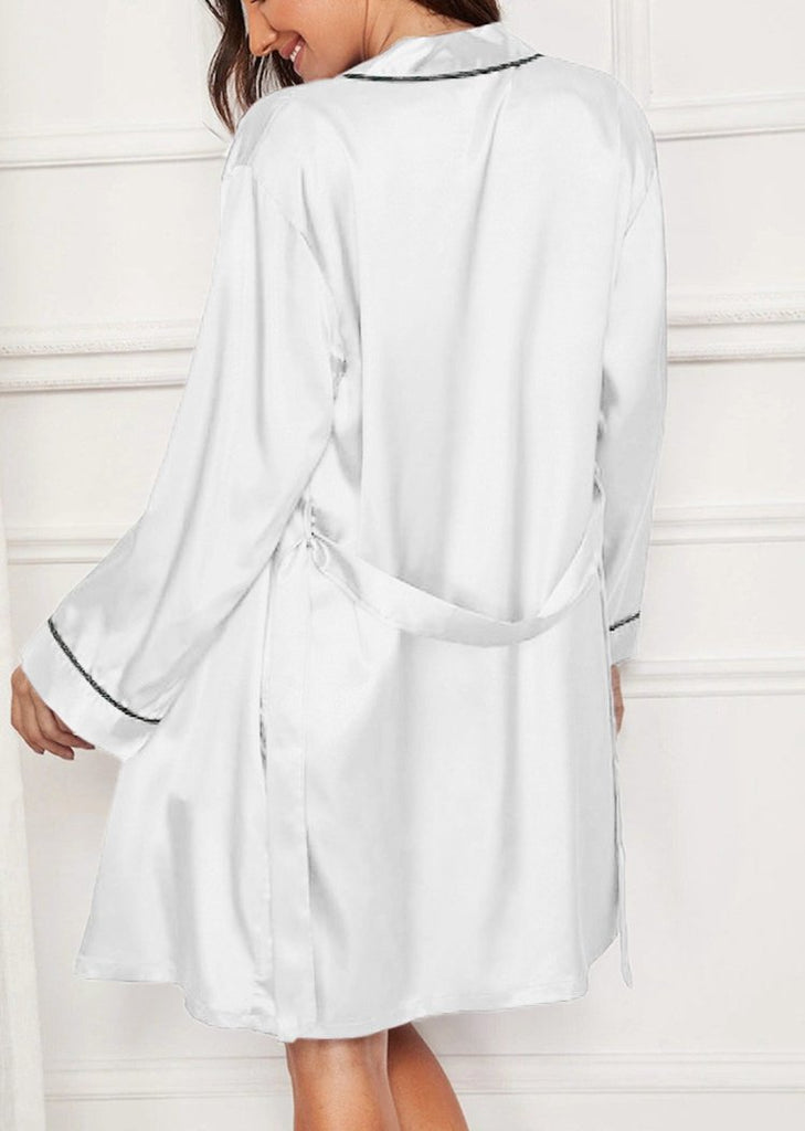 Silk Long Sleeve Robe with Nighties Two Pieces Lingerie Sleepwear/Free Shipping