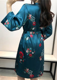 3/4 Sleeve Red Lip Flower Printed Satin Robe With Belt For Women/Free Shipping
