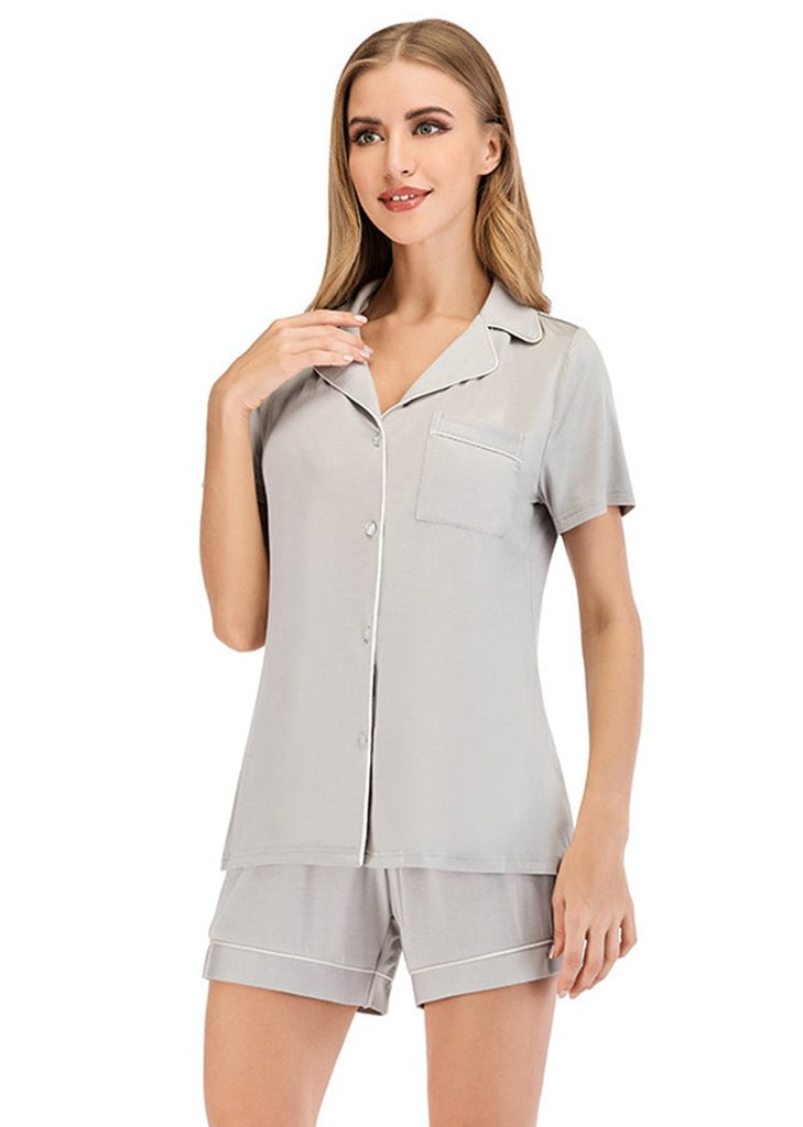Wome's Pajamas Set Stripe Dot Prints Short Sleeve Button Down Nightwear/Free Shipping
