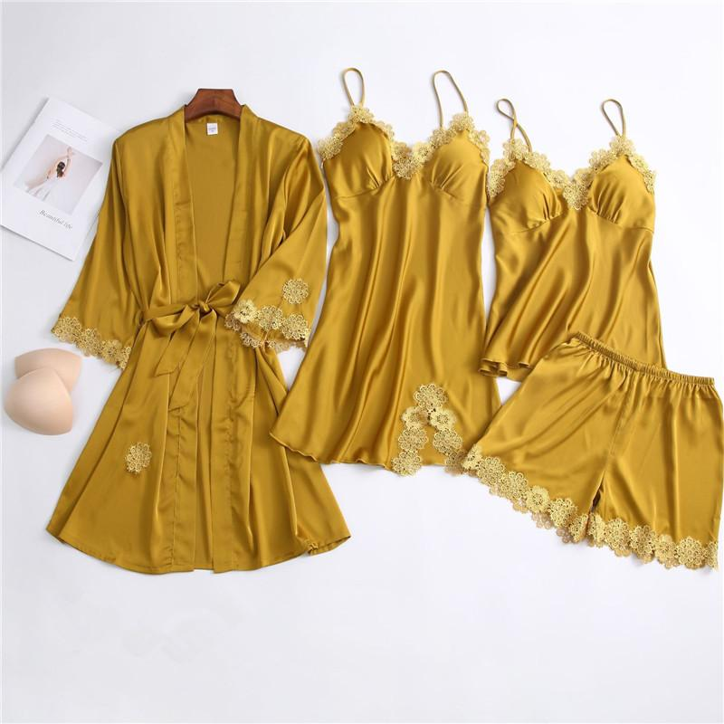 Solid Color Lace Trim Long Sleeve 4 Pieces Sleepwear Set For Women/Free Shipping
