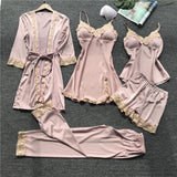 Imitation Silk Lace Trim Lingerie Sleepwear 4 Pieces Set/Free Shipping