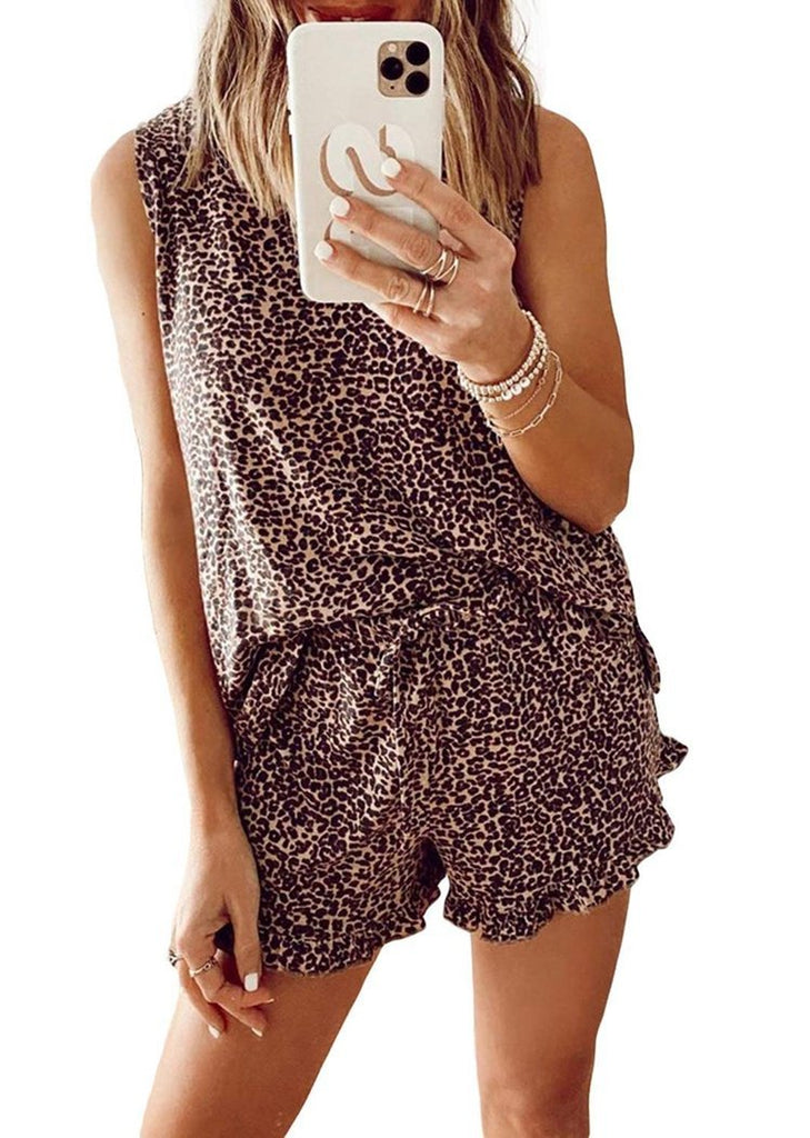 Leopard Print Ruffle Sleeveless Tops and Shorts Pajamas Set/Free Shipping
