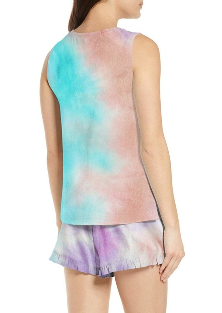 Women's Tie Dye Ruffle Sleeveless Tops and Shorts Pajamas Set/Free Shipping