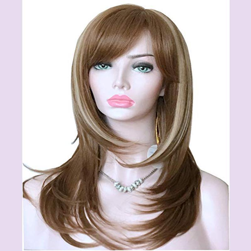 Long Layered Shoulder Length Synthetic Hair Fiber Highlight Multicolor for Women