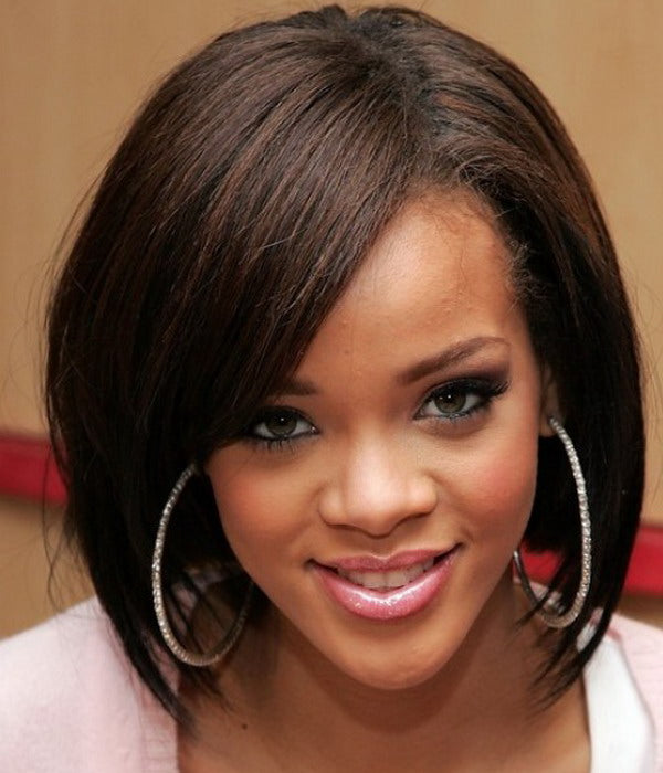 Wigsfox 12  Bob Wigs With Bangs Wigs For African American Women The Same As The Hairstyle In Picture
