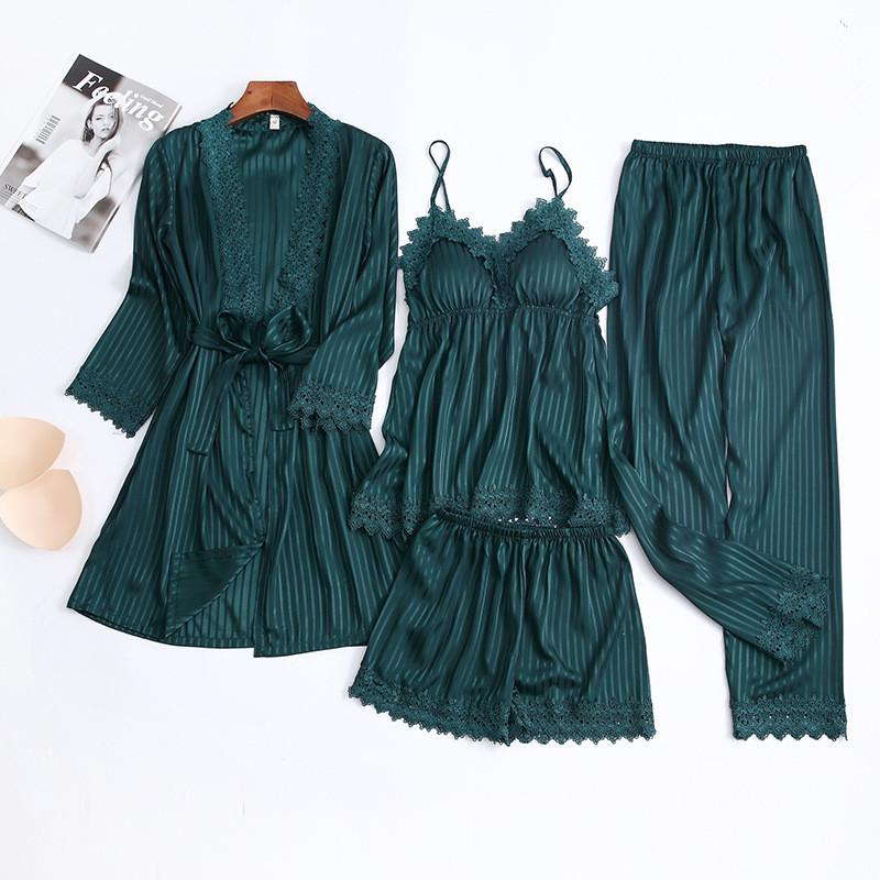 Women's Lace Trim Solid Color Long Sleeve 4 Pieces Sleepwear Set/Free Shipping