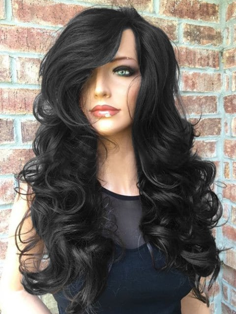 Ladystar Lace Front Wigs Long Side Parting Wavy Party Heat Resistant Synthetic Wig