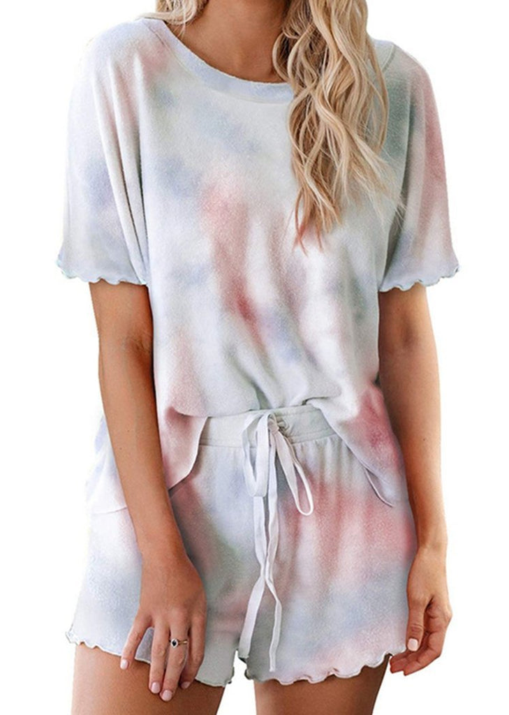 Womens Tie Dye Ruffle Short Sleeve Pajamas Set/Free Shipping