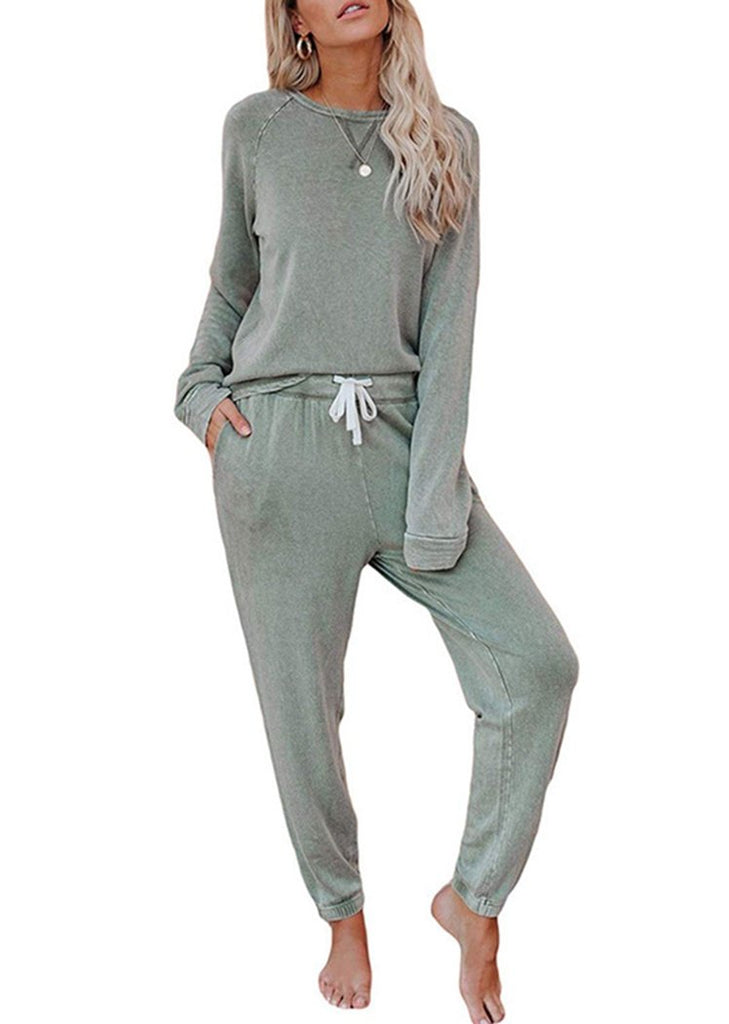 Women's Solid Color Long Sleeve Tops and Ruffle Pant Pajamas Set/Free Shipping