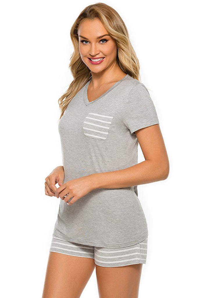 Women's Striped Spliced Sleepwear Pajama Sets With Pocket/Free Shipping