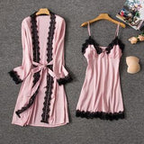 Lingerie Sleepwear 2 Pieces Set Satin Lace Trim Robe & Nightdress/Free Shipping