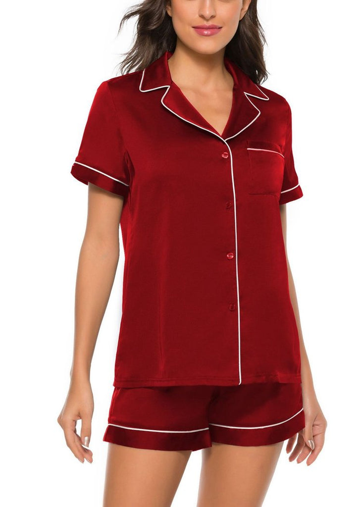 Short Sleeve Pajamas Set  Womens Button Down Nightwear with Pocket/Free Shipping