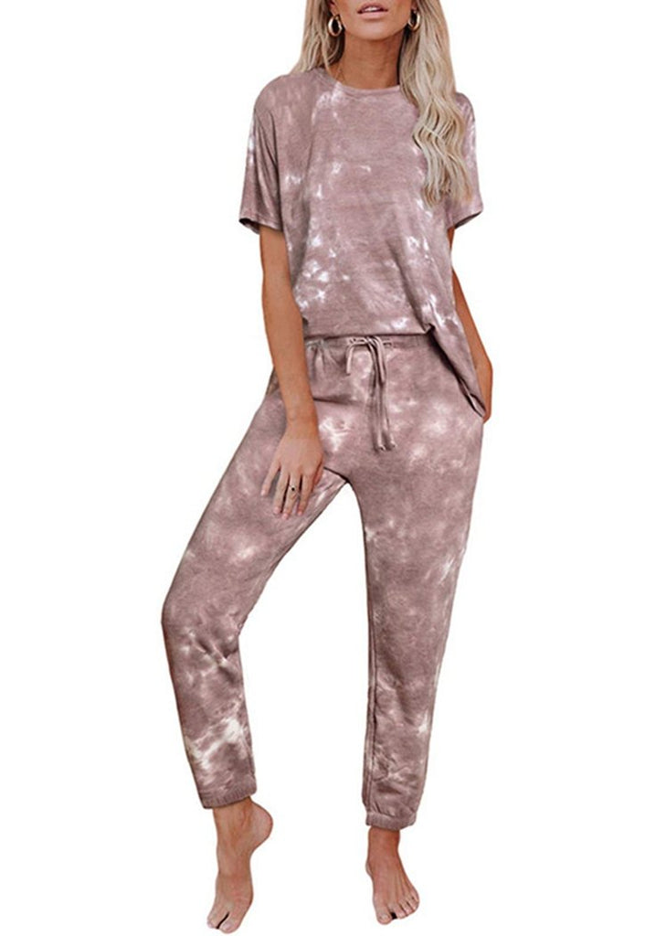 Women's Tie Dye Printed Ruffle Short SleeveTops and Pant Pajamas Set/Free Shipping