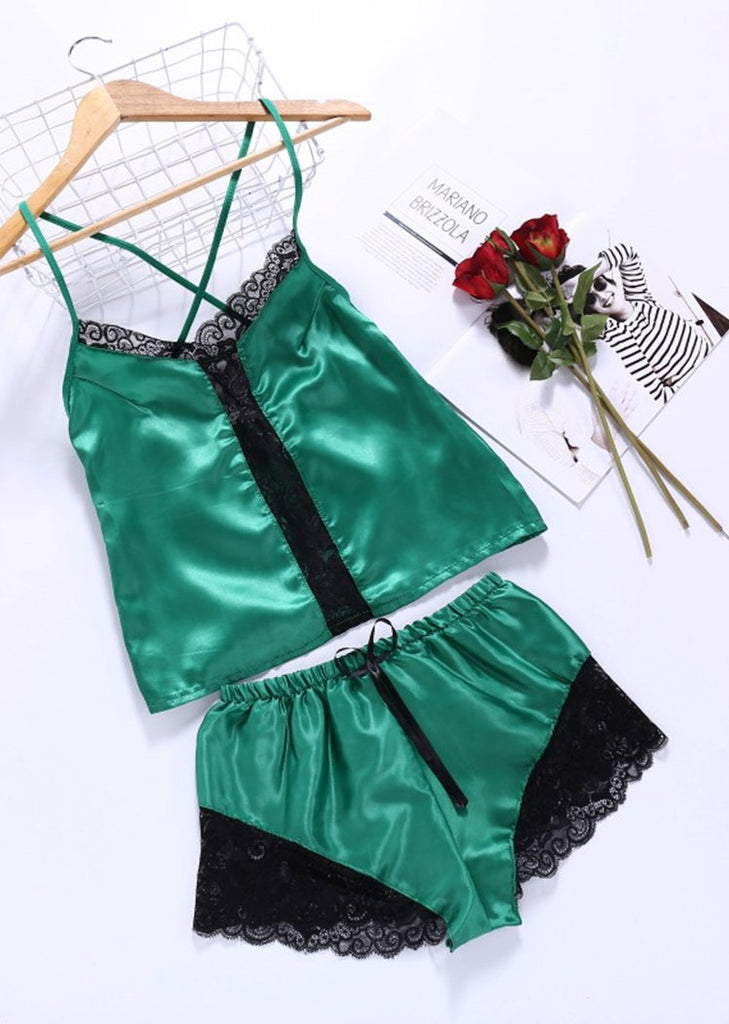 Eyelash Lace Imitation Silk Camisole Lingerie Cami Set Two Pieces/Free Shipping