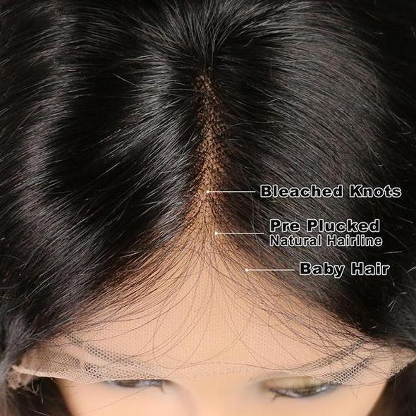 Women Chaming Virgin Hair Lace Front Black Bob Wigs