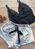 Wigsfox Lace Tank Satin Shorts with Bowknot Cami Set/Free Shipping