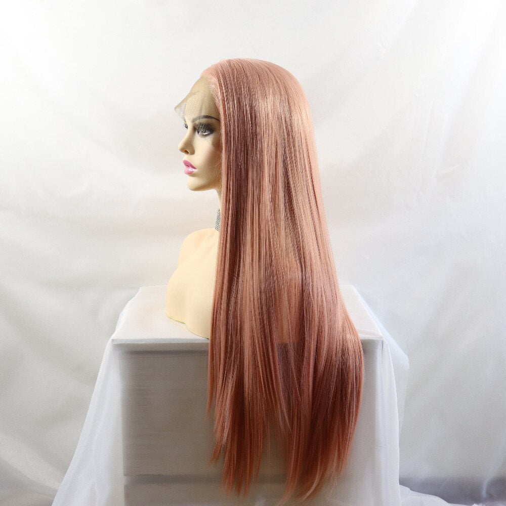 Ladiesstar Realistic Long Straight Peach Pink Natural Looking High Temperature Fiber Synthetic Lace Front Wigs For Women