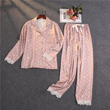 Women's Dot Print Trimed With Lace Set 2 Sleepwear Set Pajama With Pocket/Free Shipping