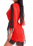 Lace Trim Half Sleeve Night Robes/Free Shipping