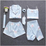 Blue Rabbit Printing 7pcs Satin Sleepwear Set Cami Pjs with Shirt and Eye Mask/Free Shipping
