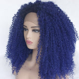 Ladiesstar Dark Blue Kinky Curly Synthetic Lace Front Wig for Women Glueless Heat Resistant Fiber Kinky Curly Lace Front Wig