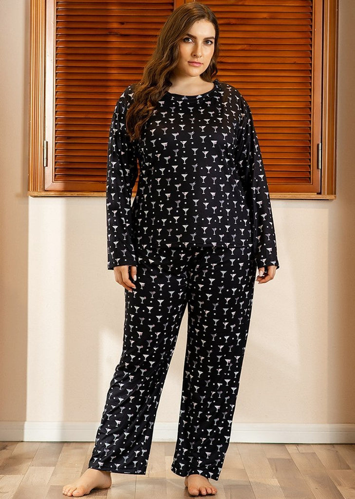 Plus Size Printed Long Sleeve Color Block 2 Pieces Sleepwear Pajama For Women/Free Shipping