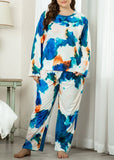 Plus Size Flower Printed Long Sleeve Color Block 2 Pieces Sleepwear Pajama For Women/Free Shipping