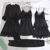 Solid Color Lace Trim Long Sleeve Sleepwear Set 5 For Women/Free Shipping