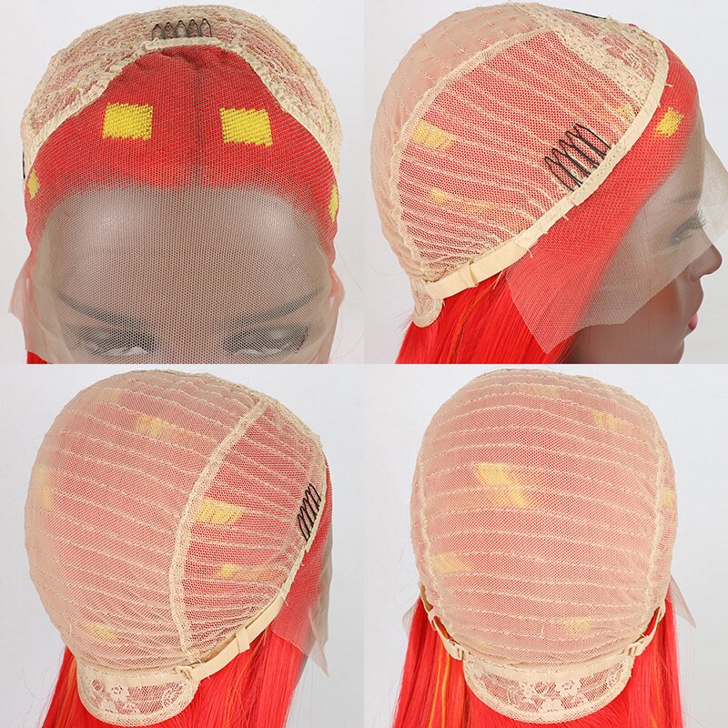 Ladiesstar New Design Red Mixed Yellow Synthetic Lace Front Wig Red Lace Front Wig Highlight Yellow Wig For Fashion Women