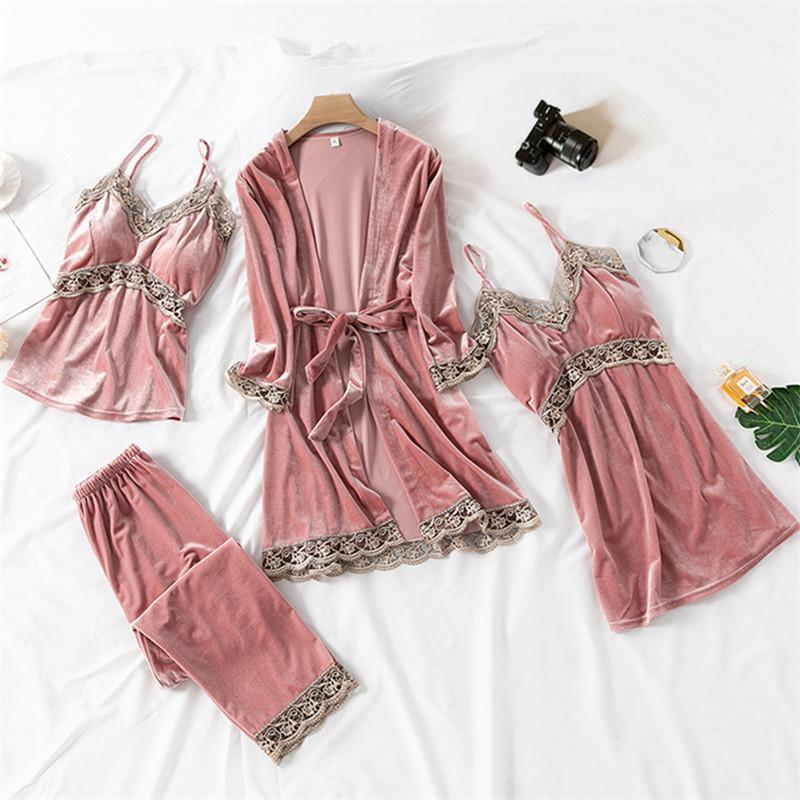 Set 4 Pieces Lace Trim Chemise Sleeveless Nighties For Women/Free Shipping