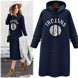 Women Autumn Pullover Long Sleeve Letter Printed Hooded  Soft Warm Tunic Sweater Dress M-5XL/Free Shipping