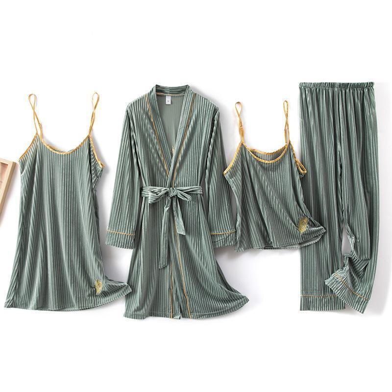 Color Block Golden Velvet 4 Pieces Sleepwear Set/Free Shipping