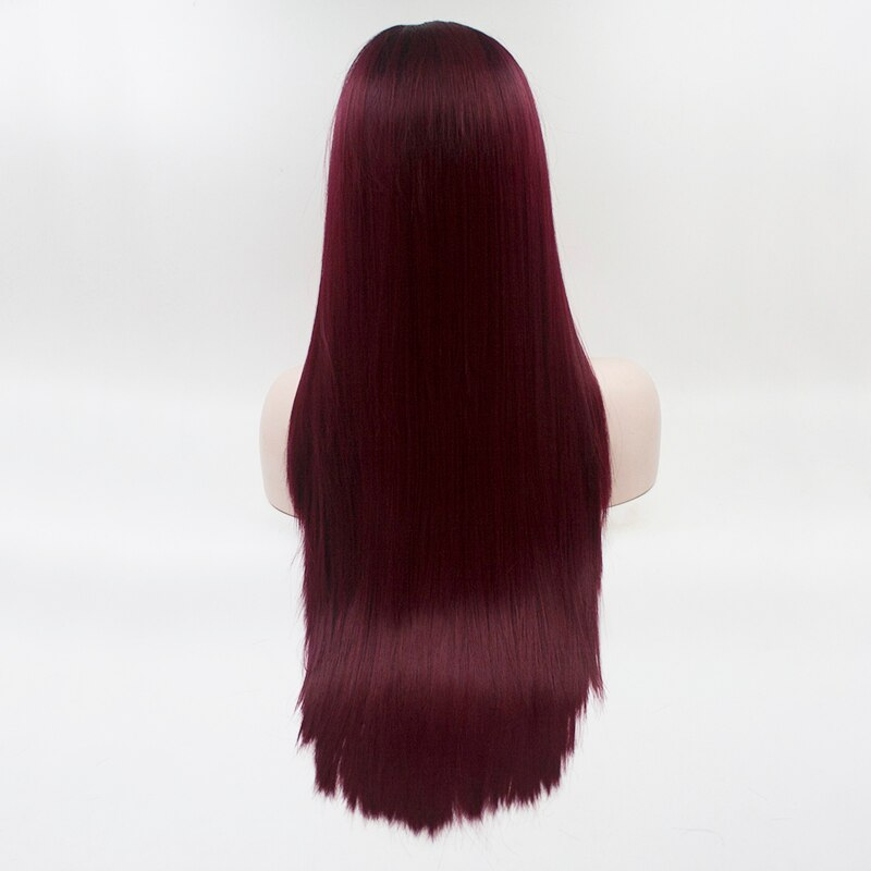 Fantasy Beauty Ombre Wig 2 Tones Dark Roots Long Straight Synthetic Wigs Middle Part Natural Looking 26 Heat Resistant For Women